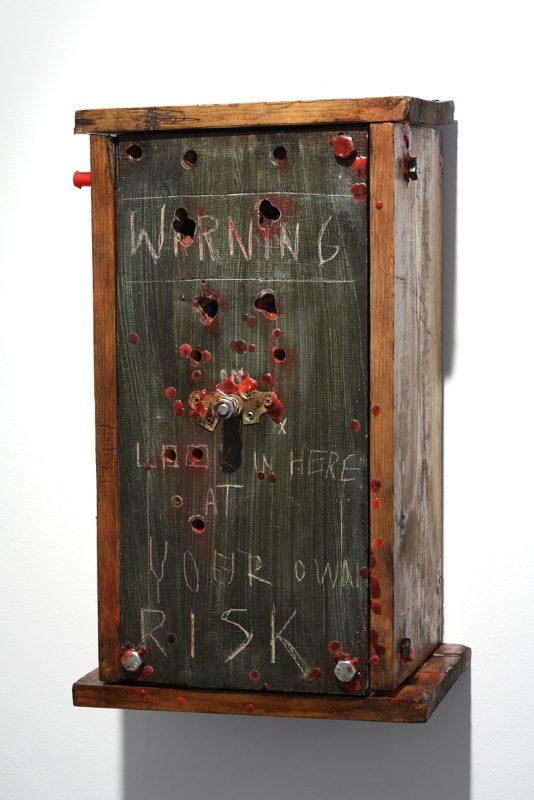 Jasper Joffe   The Cursed Box   2009   Wooden cabinet & mixed media   50x30x20cm