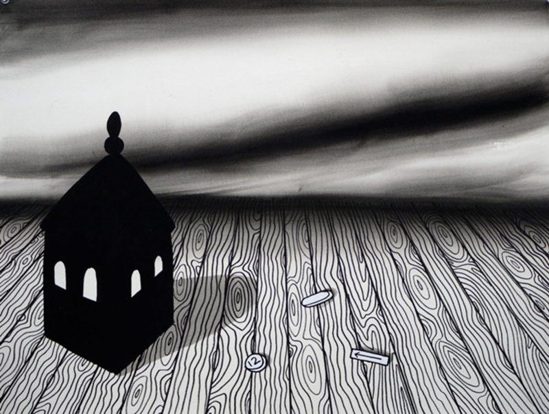 Robin Mason | Domestic Sublime XI | 2010 | Black pigmented acrylic gesso, correction fluid & acrylic ink on paper | 50x66cm