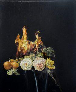 Emma Bennett | Restlessness | 2013 | Oil on oak panel | 30x25cm