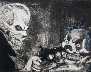Martin Lea Brown | Tears of a Clown | Dry point on copper plate