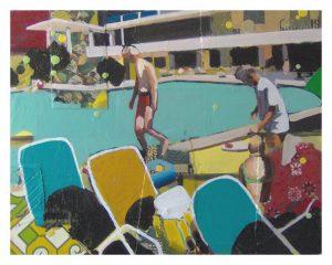 Jake Clark | Hotel Linda | 2011 | Oil & lino on canvas | 46x58cm