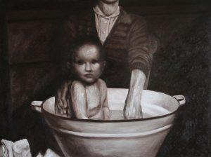 Mauro Espindola | Stepchildrenland, The Bath | 2011 | Oil on canvas | 91.2×121.5cm
