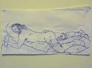 Sigrid Holmwood | Sleeping with stockings on | 2011 | Woodcut on paper handmade from old bed sheets | 17x36cm