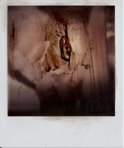 Sam Jackson | Upside Down Head | 2011 | Polaroid & oil paint | 10.7×8.8cm
