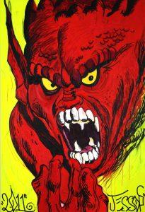 James Jessop | Raising Hell | 2011 | Oil, acrylic & Uni Posca | 250x170cm