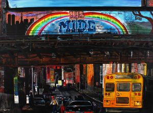 James Jessop | Subway Train 1983 passing over St Ann St, South Bronx | 2011 | Oil, acrylic & Uni Posca marker on canvas | 250x342cm