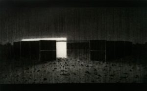 Reece Jones | Bull Pen | 2010 | Charcoal & polymer varnish on paper | 33x53cm