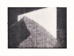 Reece Jones | Screen 3 | 2011 | Charcoal on paper with polymer varnish | 19x25cm