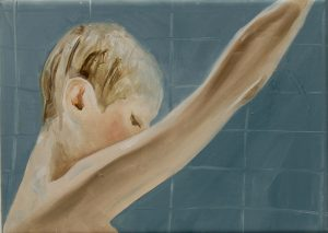 Cathy Lomax | Anne Heche is showering, soon she will be murdered | 2011 | Oil on canvas | 25x35cm