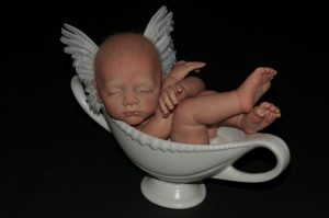 Wendy Mayer | Angel | 2014 | Ceramic vase, reborn doll parts, white quail wings | 36x15x25cm