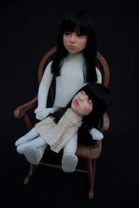 Wendy Mayer | Memento Amori | 2012 | Mannequin, ragdoll, wax, Victorian glass eyes, acrylic hair, rocking chair | 95x43x50cm
