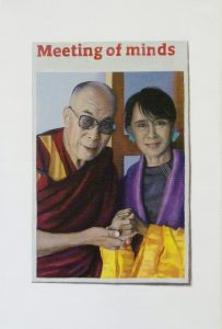 Hugh Mendes | Dalai Lama Meeting of Minds | 2012 | Oil on linen | 30x20cm