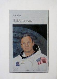 Hugh Mendes | Obituary: Neil Armstrong | 2012 | Oil on linen | 35x25cm