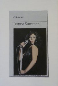 Hugh Mendes | Obituary: Donna Summer | 2012 | Oil on linen | 30x20cm