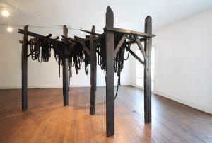 Nika Neelova | Scaffolds Today Monuments Tomorrow | 2011 | Burnt & waxed wood, paper & ink
