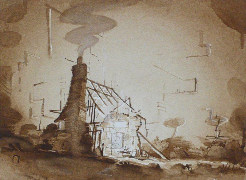 Tom Ormond | Studio Study | 2012 | Gouache on paper | 16.7×22.8cm