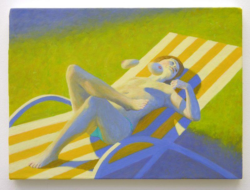 Benjamin Senior | Sun Bather | 2010 | Egg tempera on cotton on board | 21x29cm