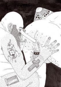 James Unsworth | John Killdeer & Lurch (Black) | 2009 | Pen & ink on paper | 20×14.8cm