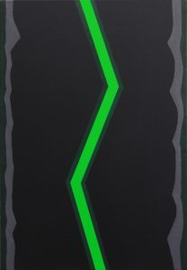 Alex Gene Morrison | Green Lightning (Grey-Edge) | 2014 | Acrylic & oil on canvas | 66x46cm