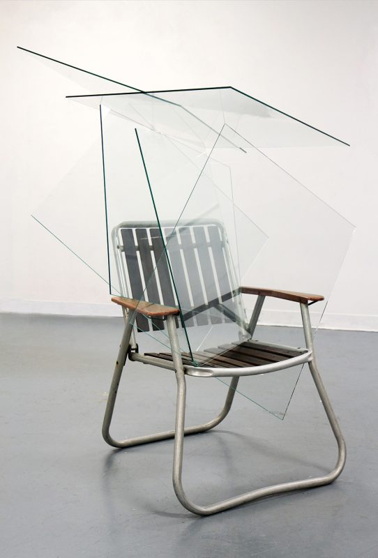 Ben Woodeson | That Bit From The Omen? Yes, That Bit… | 2013 | Glass and garden chair | 70x70x160cm