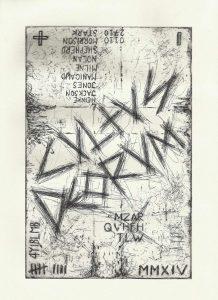 Zavier Ellis | Cultus Deorum | 2014 | Hard ground etching on 300 gsm Somerset soft white velvet paper (Ed. 50) | 29.7x21cm