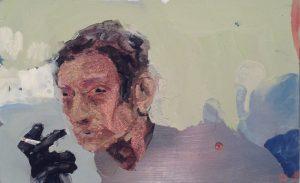 Geraldine Swayne | Je t'aime moi non plus | 2014 | Enamel on aluminium | 7.5x12cm