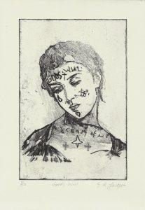 Sam Jackson | God's Will | 2014 | Soft ground etching on 300 gsm Somerset soft white velvet paper (Ed. 50) | 29.7x21cm