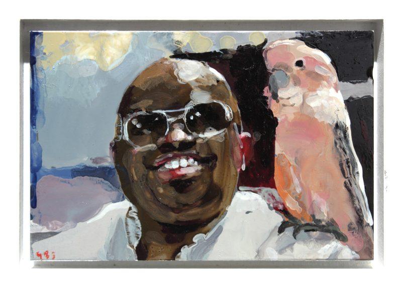 Geraldine Swayne | Celebrity with a Parrot | 2013 | Enamel on aluminium | 8x12cm