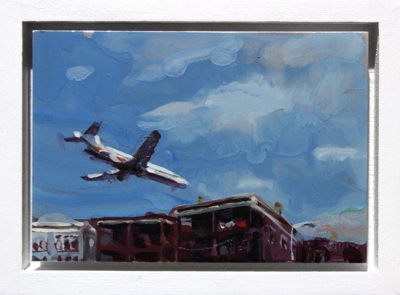 Geraldine Swayne | Plane Landing | 2013| Enamel on aluminium | 9×7.5cm