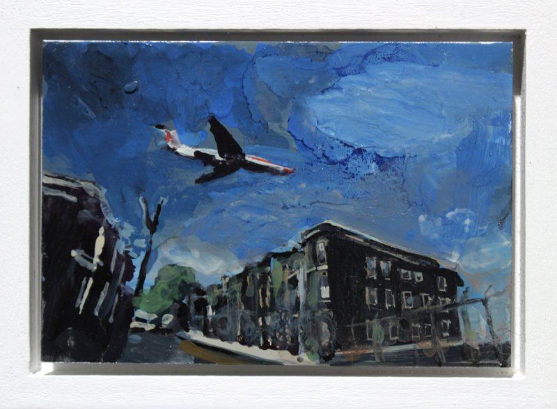 Geraldine Swayne | Plane Landing New Orleans | 2013 | Enamel on aluminium | 9×7.5cm