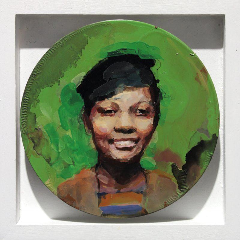 Geraldine Swayne | Smiling Girl in Black Hat | 2014 | Enamel aluminium | 9cm Diameter