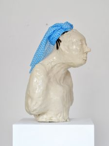 Kate Lyddon | Self Portrait (Humiliated) | 2012 | Glazed ceramic, dish cloth & synthetic hair | 23x25x42cm