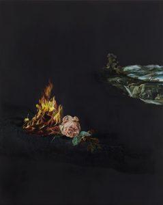 Emma Bennett | And the Wind Rose | 2015 | Oil on oak panel | 25x20cm