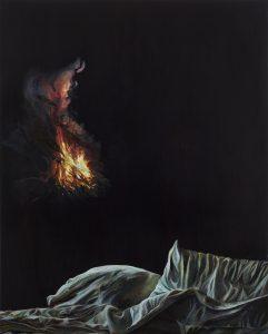 Emma Bennett | Haunts | 2015 | Oil on oak panel | 25x20cm