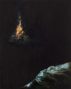 Emma Bennett | Small Hours | 2015 | Oil on oak panel | 25x20cm