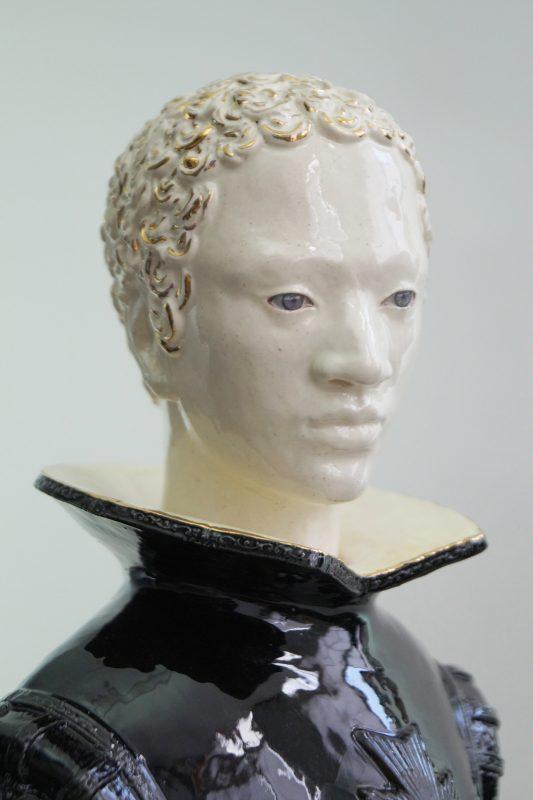 Claire Partington | The Bear | 2015 | Earthenware, glaze, enamel lustre with two interchangeable heads | 73x24x22cm | Detail