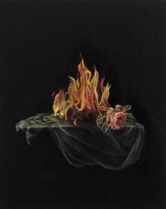 Emma Bennett | Lustful | 2015 | Oil on oak panel | 25x20cm