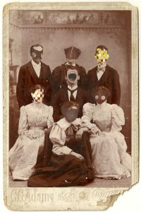 Tom Butler | CC Adams Family | 2014 | Gouache on Albumen print | 16.5×10.5cm