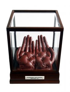 Eliza Bennett | Pleading Affluenza | 2010 | Leather, thread, wadding, wood, glass, bone | 28x24x24cm