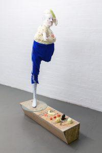 Kate Lyddon | Hardly Visible Man (Passenger) | 2013 | Polystyrene, enamel, metal, plastic, gloss paint, sink plunge, motor | 60x24x27cm