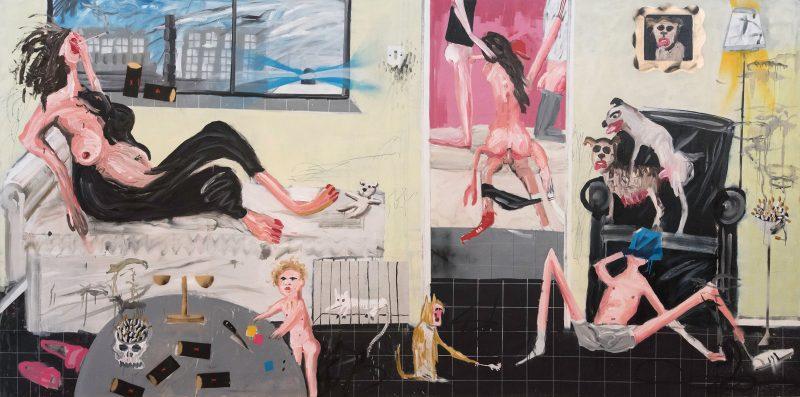 Dale Lewis | Deep Fat Fryer | 2015 | Oil, acrylic, spray paint on canvas | 200x400cm