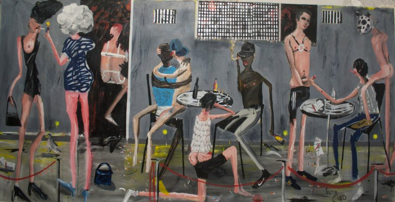 Dale Lewis | Night Garden | 2015 | Oil, acrylic, spray paint on canvas | 200x400cm
