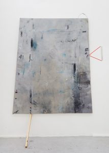 Lorraine Fossi | Laguna | 2015 | Oil, acrylic, marble dust, tape, found objects, canvas | 170x140cm