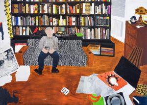 Francesco Cuttitta | W.H. and his library | 2016 | Acrylic on canvas | 153x215cm