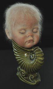 Wendy Mayer | Bernadette | 2016 | Painted vinyl, mohair, ceramic vase | 32x24x25cm