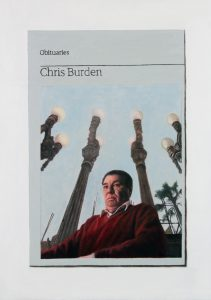 Hugh Mendes | Obituary: Chris Burden | 2016 | Oil on linen | 35x25cm
