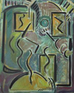 Kiera Bennett | Studio Face (Green Eye) | 2016 | Oil on canvas | 50x40cm