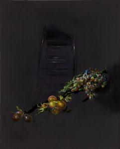 Emma Bennett | The length of darkness | 2017 | Oil on oak panel | 25x20cm