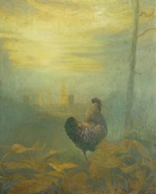 Sam Douglas | Cockerel | 2016 | Oil, varnish on board | 24x19cm