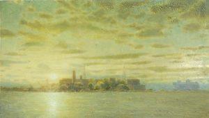 Sam Douglas | Kronstadt Fort 2 | 2017 | Oil, varnish on board | 12x20cm